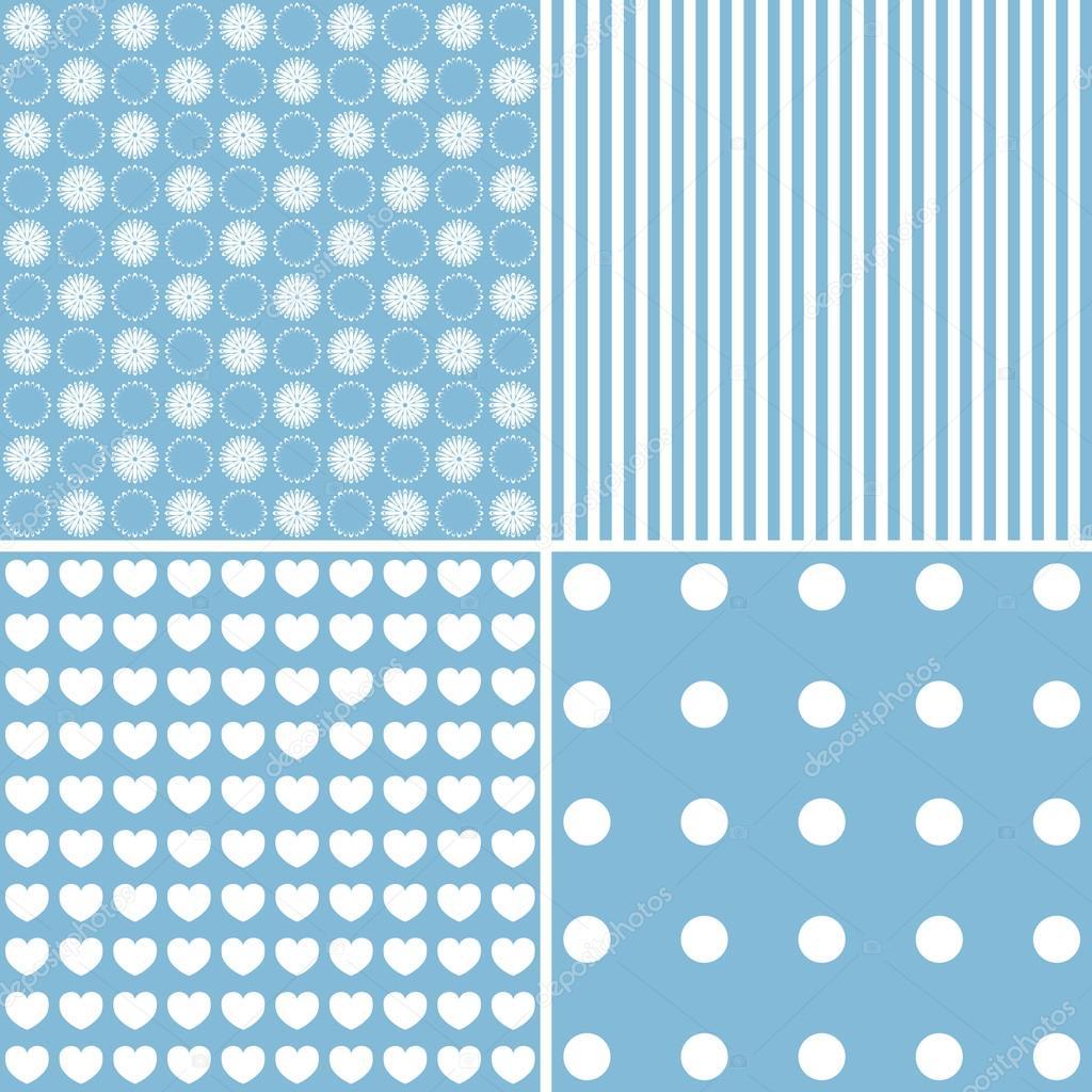 b276940687 Set di modelli carini. Collezione di sfondi nei colori bianchi e blu.  Illustrazione di vettore — Vettoriali di ...