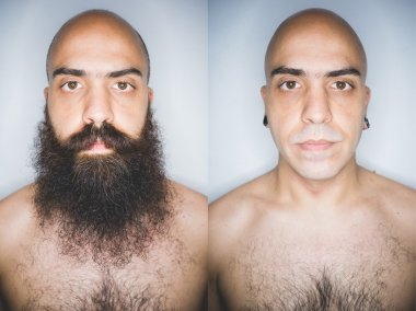 man bearded and shaved, before and after