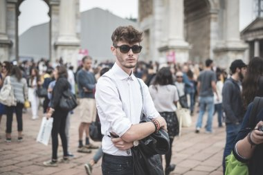 eccentric and fashionable people during Milan fashion week 2014