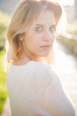 beautiful blonde woman outdoor