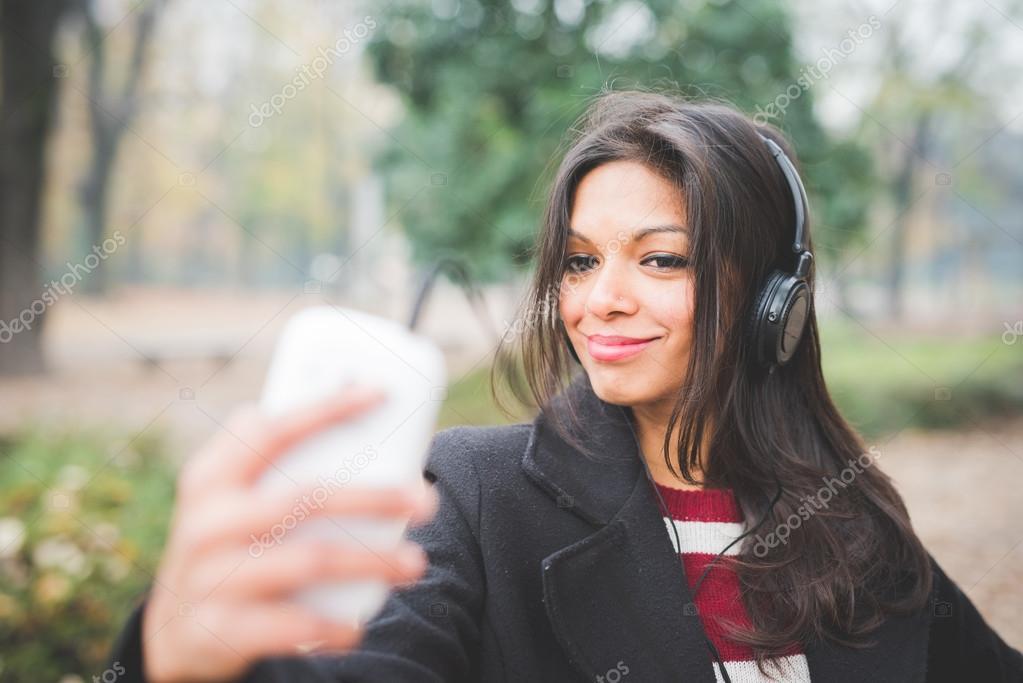 indian woman  listening music