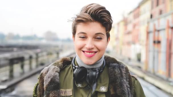 beautiful short hair hipster woman