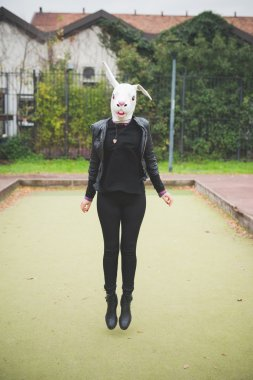 Young woman in Rabbit mask