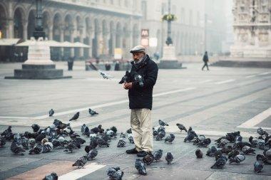 old man feeding pigeons in Milan
