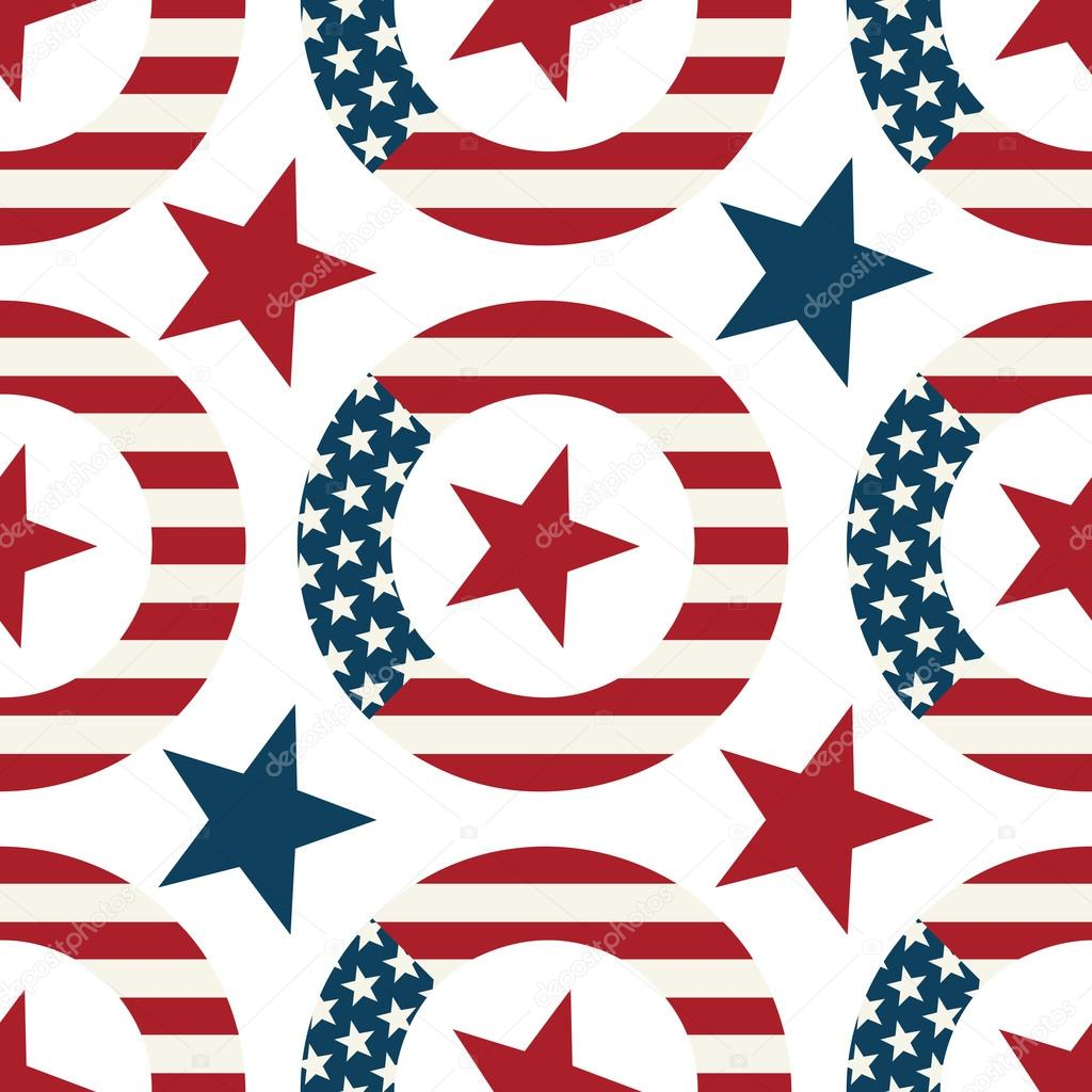 Wreath With Symbols Of The Us Flag Seamless Vector Pattern Stock