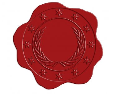 Red Wax Seal with Star and Laurel Border