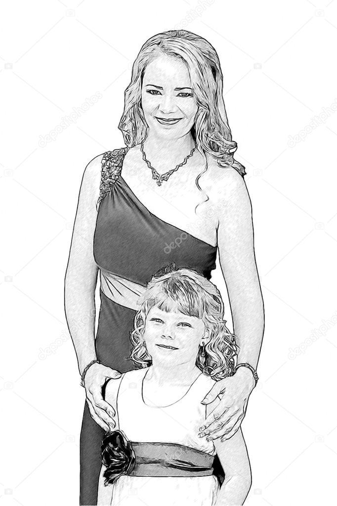 Dessin De Belle Maman Et Sa Fille Dans Une Tenue