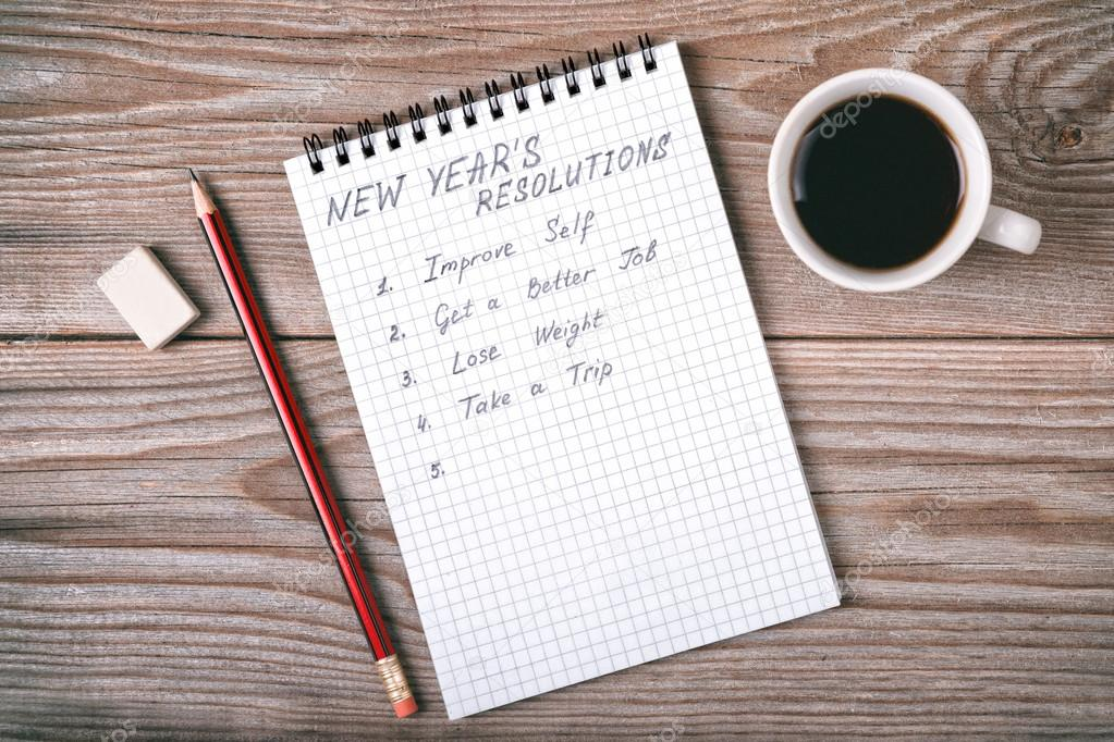 New year's resolutions written on a notepad