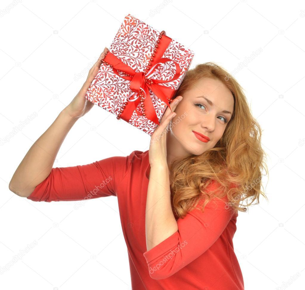 Weihnachten Geschenk Frau mit eingebundenen Weihnachtsgeschenk ...