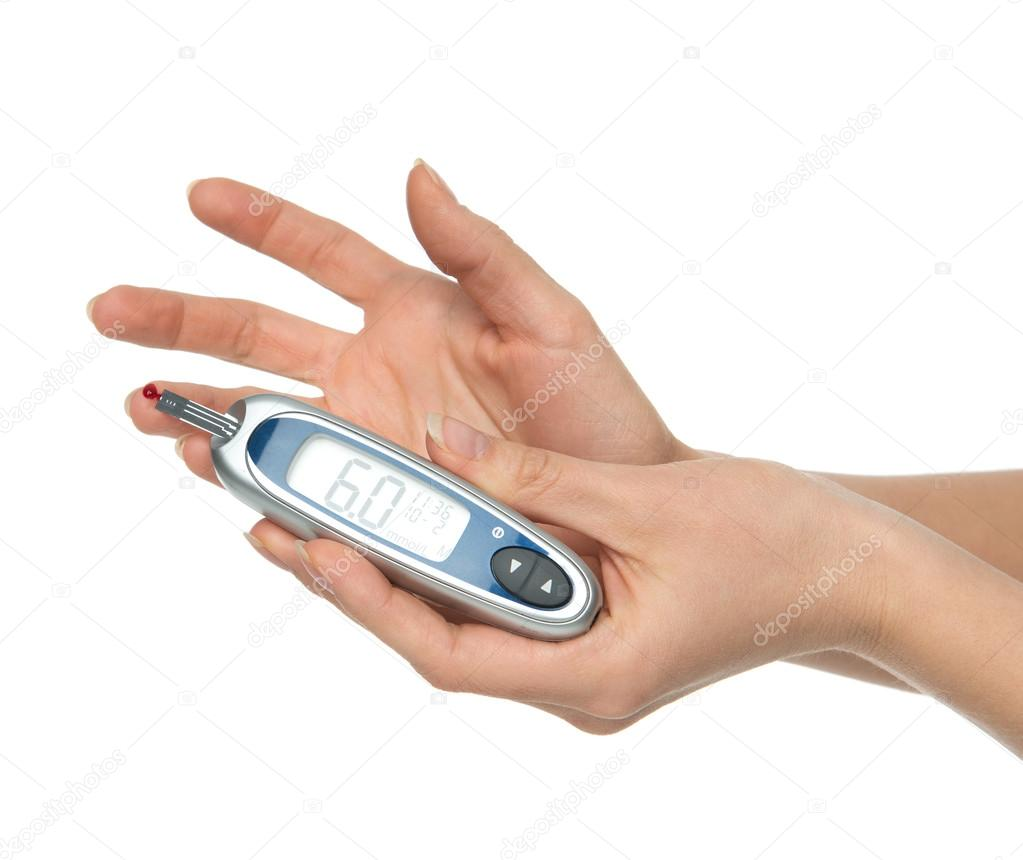 Diabetes patient measuring glucose level blood test