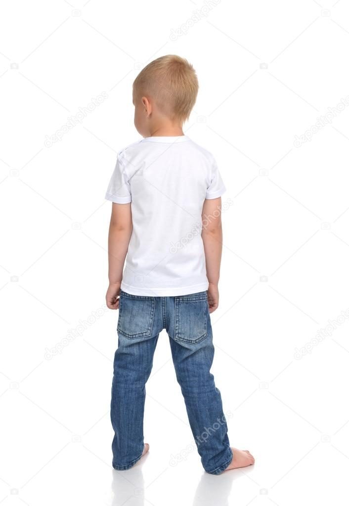 Rear view of caucasian full body american baby boy kid in tshirt