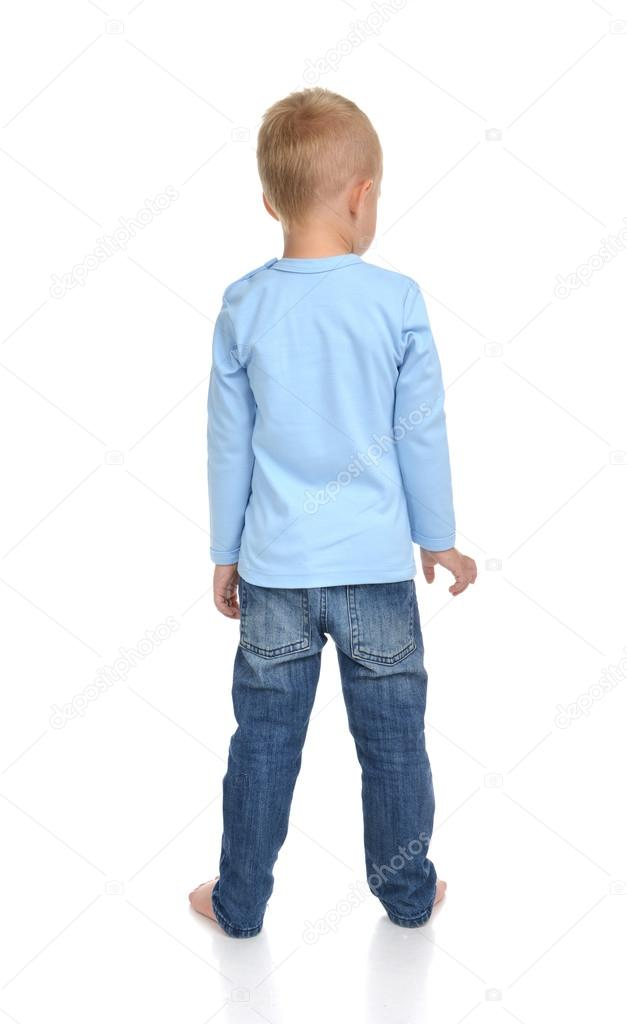 Rear view of caucasian full body american baby boy kid in blue s