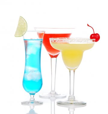 Popular alcoholic cocktails drinks yellow margarita cherry blue