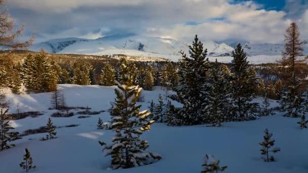 Schöne Schneelandschaft im Altai-Gebirge. Zeitraffer