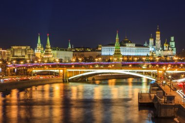 Picturesque views of the night Moscow. Moscow Kremlin and Moskva