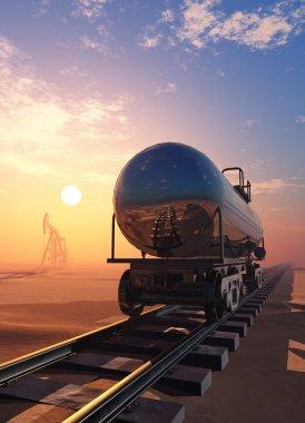 Tanker on the railway in the desert.3D rendering stock vector