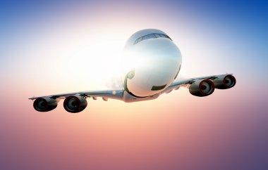 A passenger plane in the sky ,3d render stock vector
