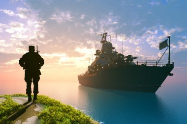 Silhouette of a soldier and ship.