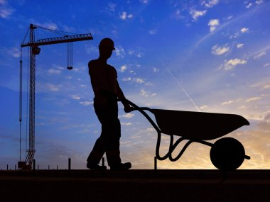 Silhouette of a worker with a wheelbarrow at a construction site. stock vector