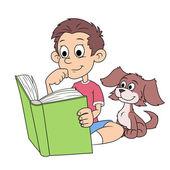 Chlapec a štěně čtení knihy 2
