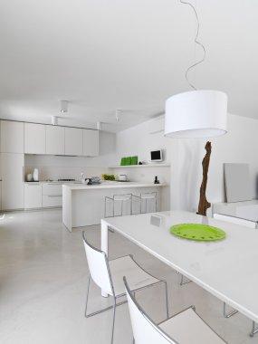 interior view o f total  white modern kitchen