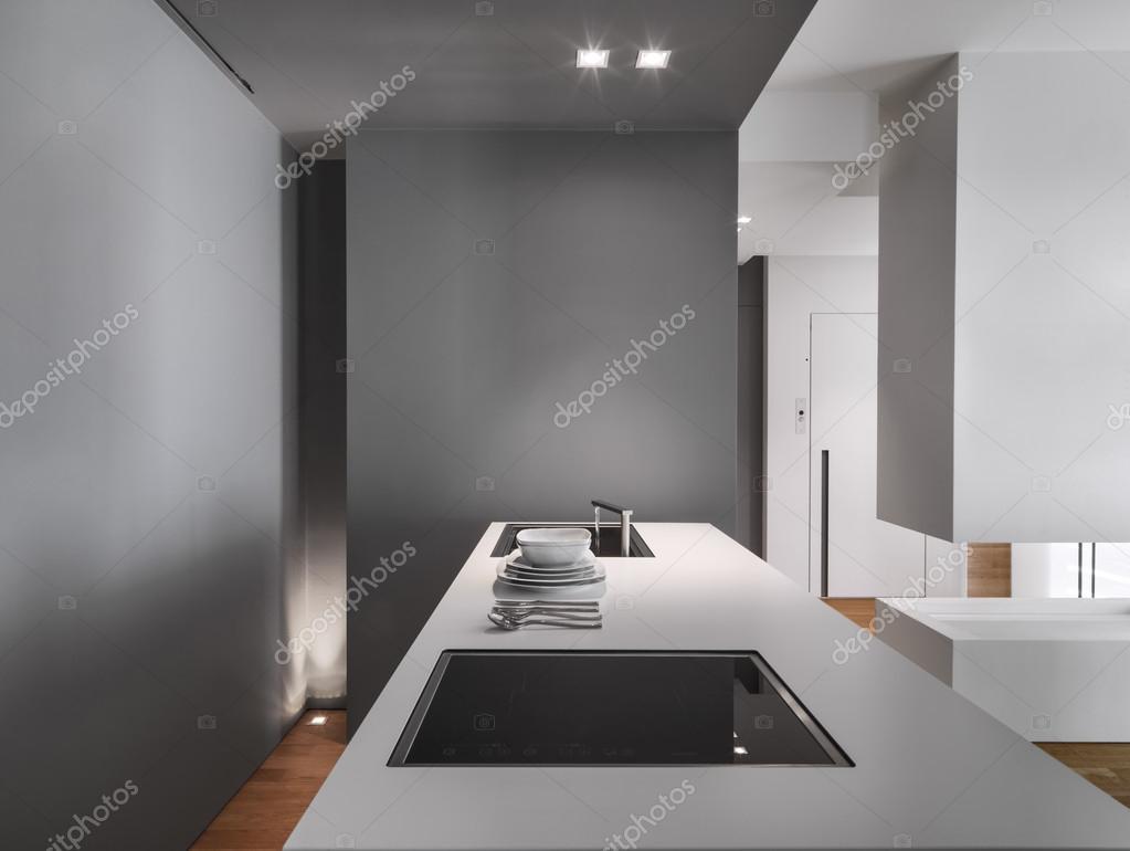 Vista Interior De Uma Ilha De Cozinha Moderna Stock Photo