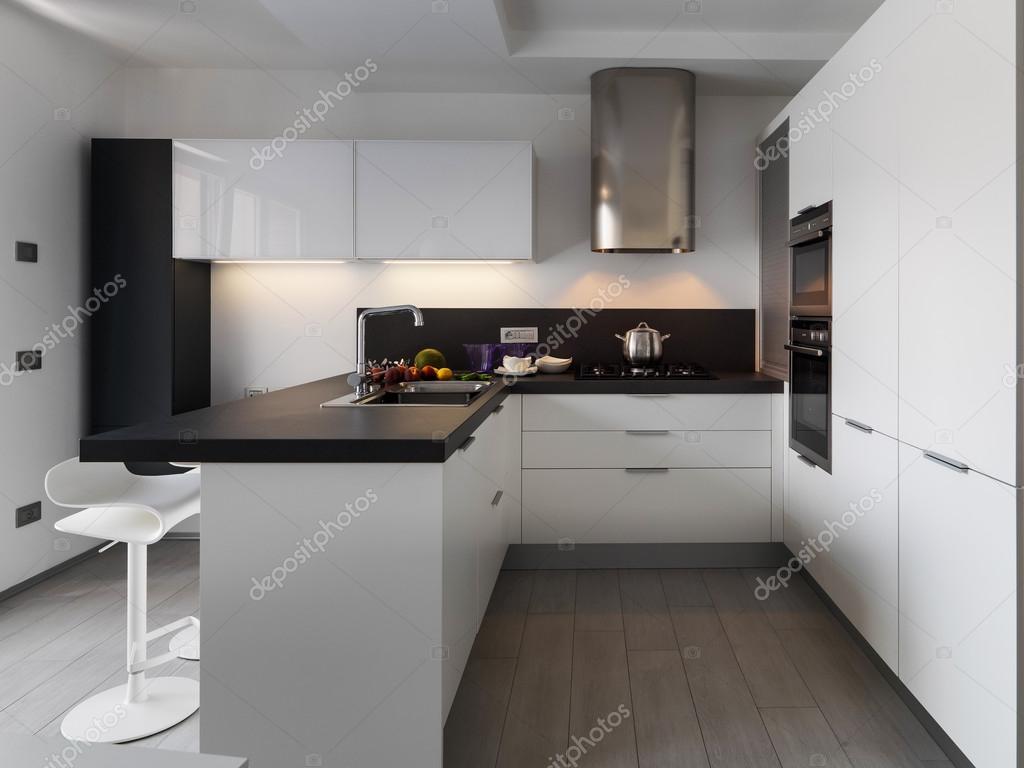vista interior de una cocina moderna con fruta fresca en el wotktop ...