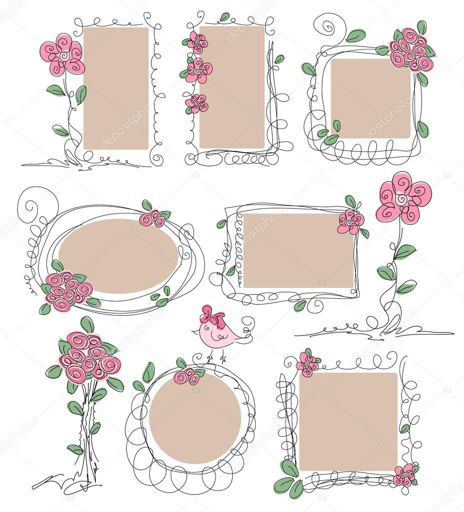 Satz von Vintage Rahmen mit Blumen — Stockvektor © antuanetto #51962587