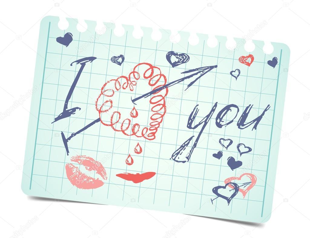Hinweis Mit Text Und Herz Ich Liebe Dich. Vektor Valentinstag Karte U2014  Stockvektor #62793389