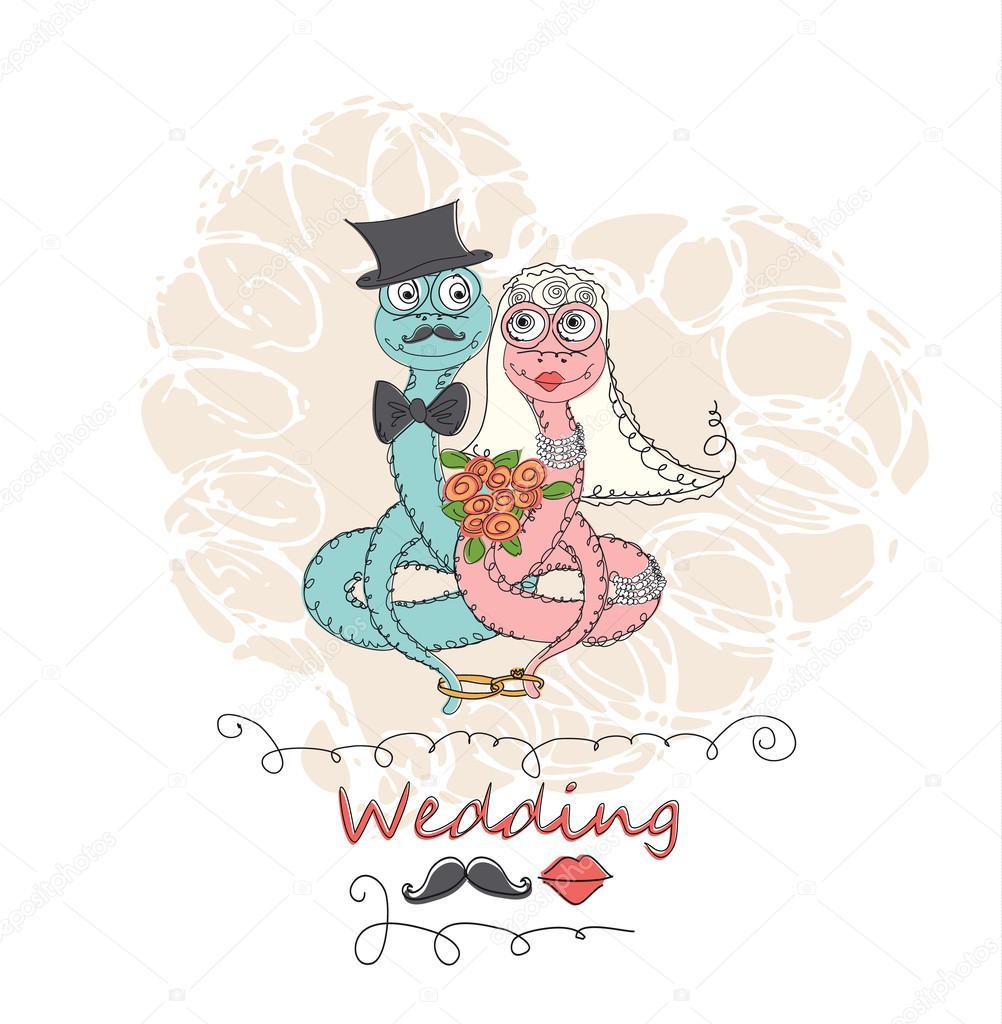 Rysunek Streszczenie Kreskówka Miłość I ślub Grafika Wektorowa