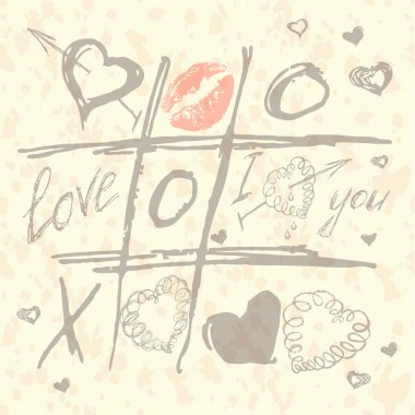 vector Tic Tac Toe Hearts, Valentine background. The valentines day. Love heart. Hand drawn icons symbols.