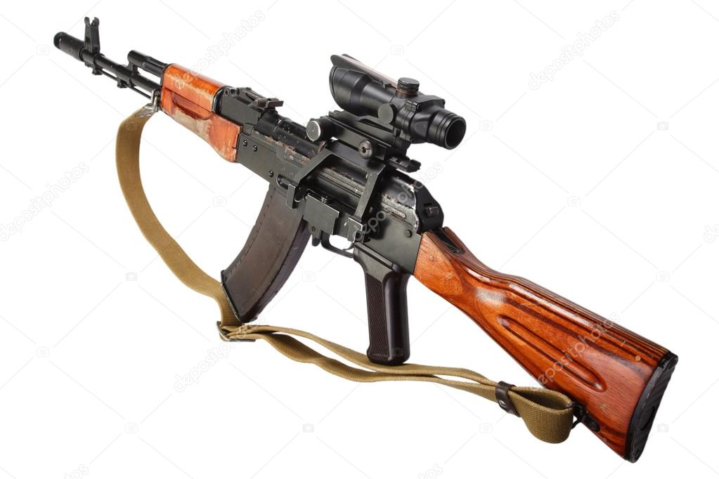 Kalashnikov ak 47 with optic sight — Stock Photo © zim90