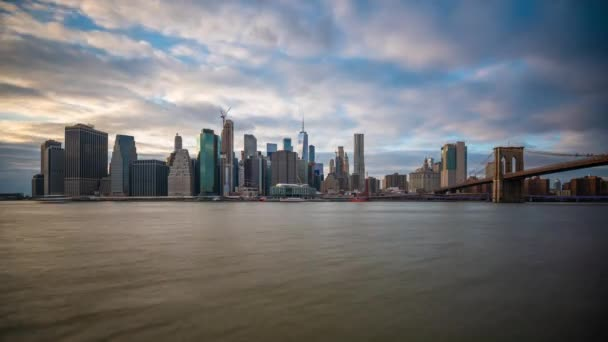 New York, New York, USA Lower Manhattan skyline time lapse from the East River.