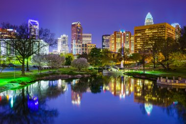 Charlotte, North Carolina Park Cityscape