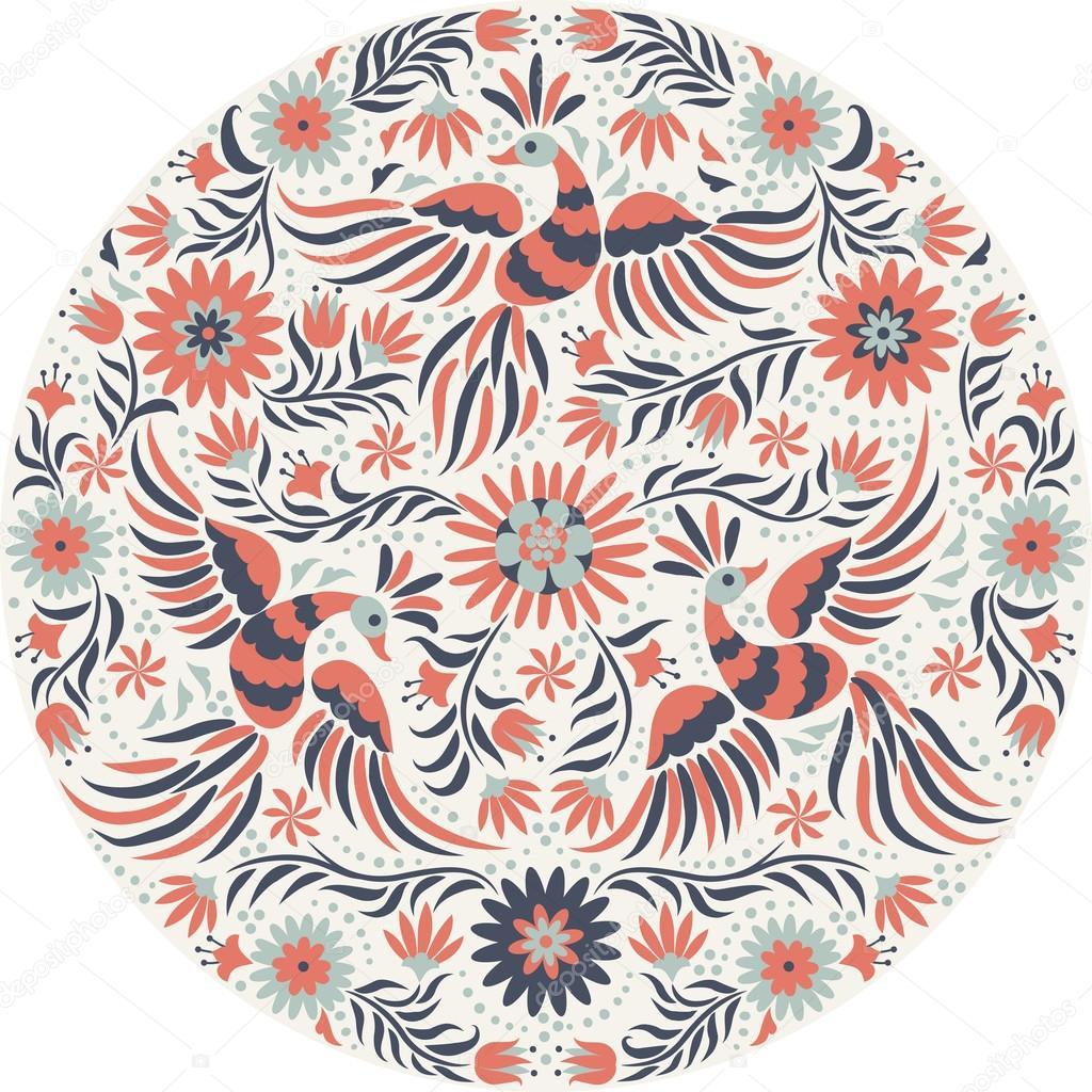 Bordado mexicano alrededor de patrón. Rojo y patrón étnico volver  recargado. Aves y flores luz de fondo. Fondo floral con brillantes adornos  étnicos ... c5ec1cfcd91f7