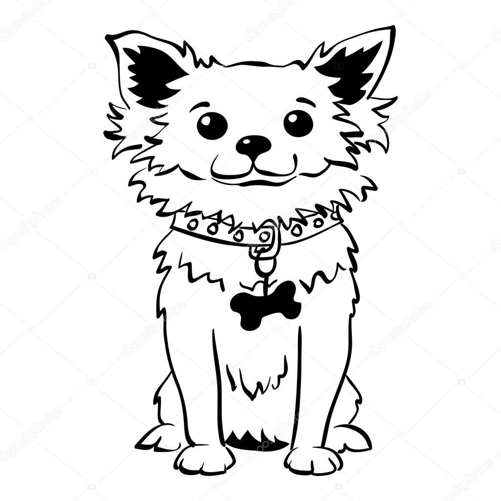 Perro de chihuahua divertido sketch vectores sentado — Archivo ...