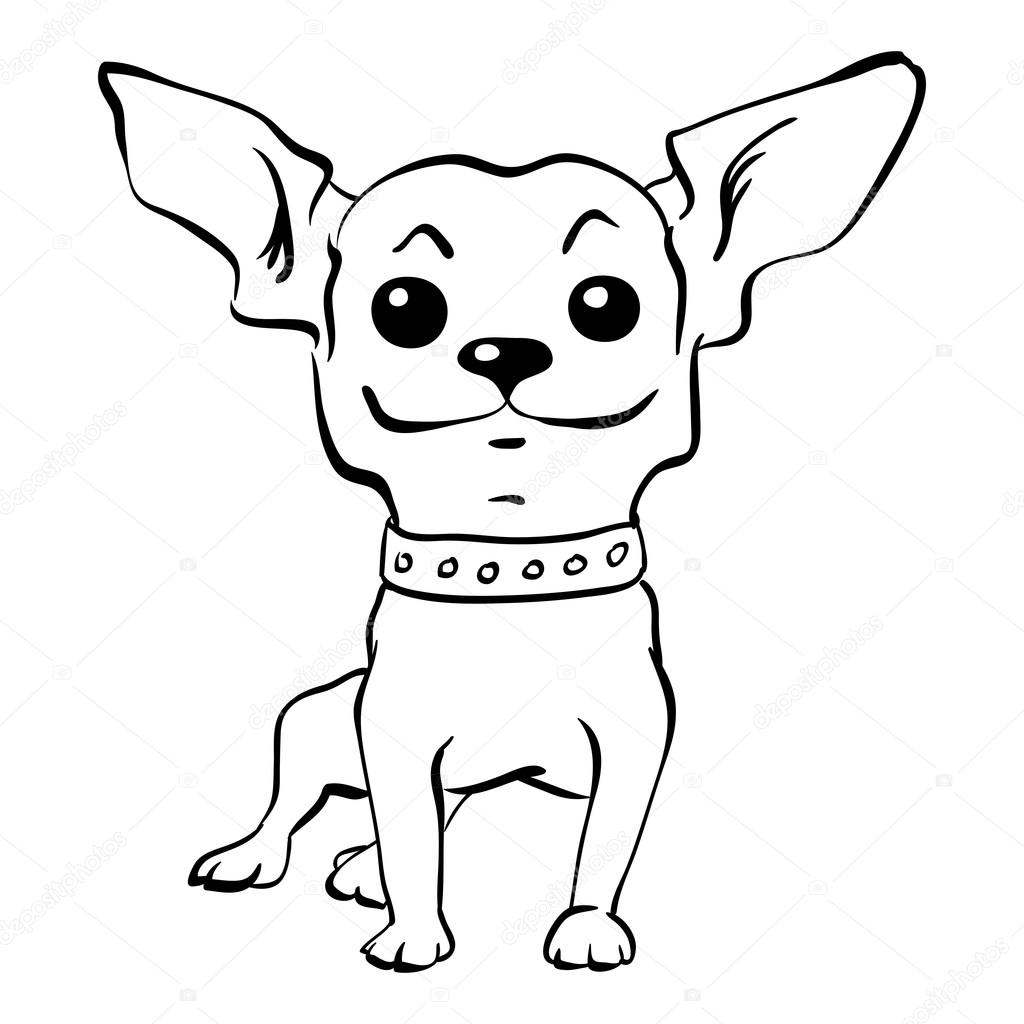 Pies chihuahua zabawny szkic wektor siedzi — Wektor stockowy