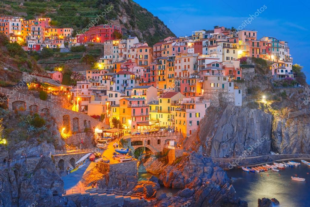 Nuit Manarola Cinque Terre Ligurie Italie Photographie Olgacov