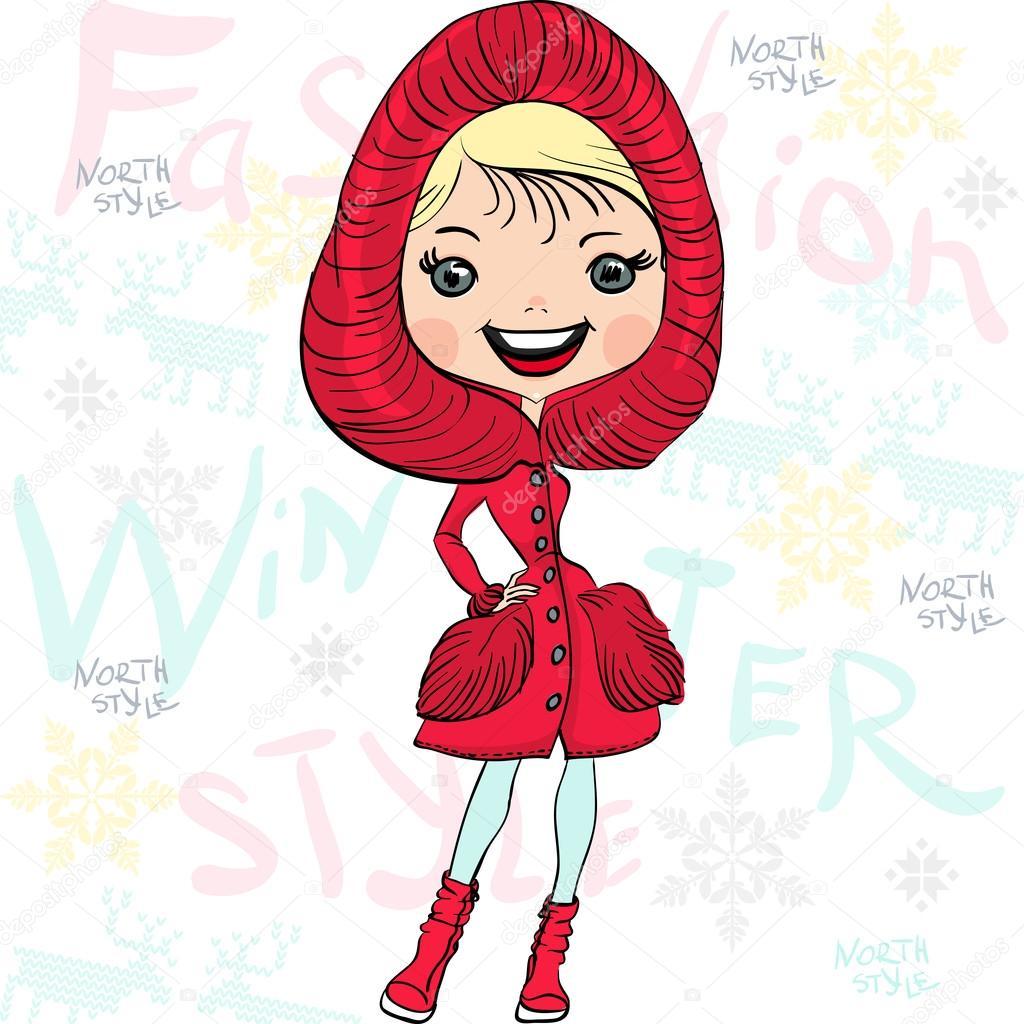 Vector beautiful fashion girl in winter