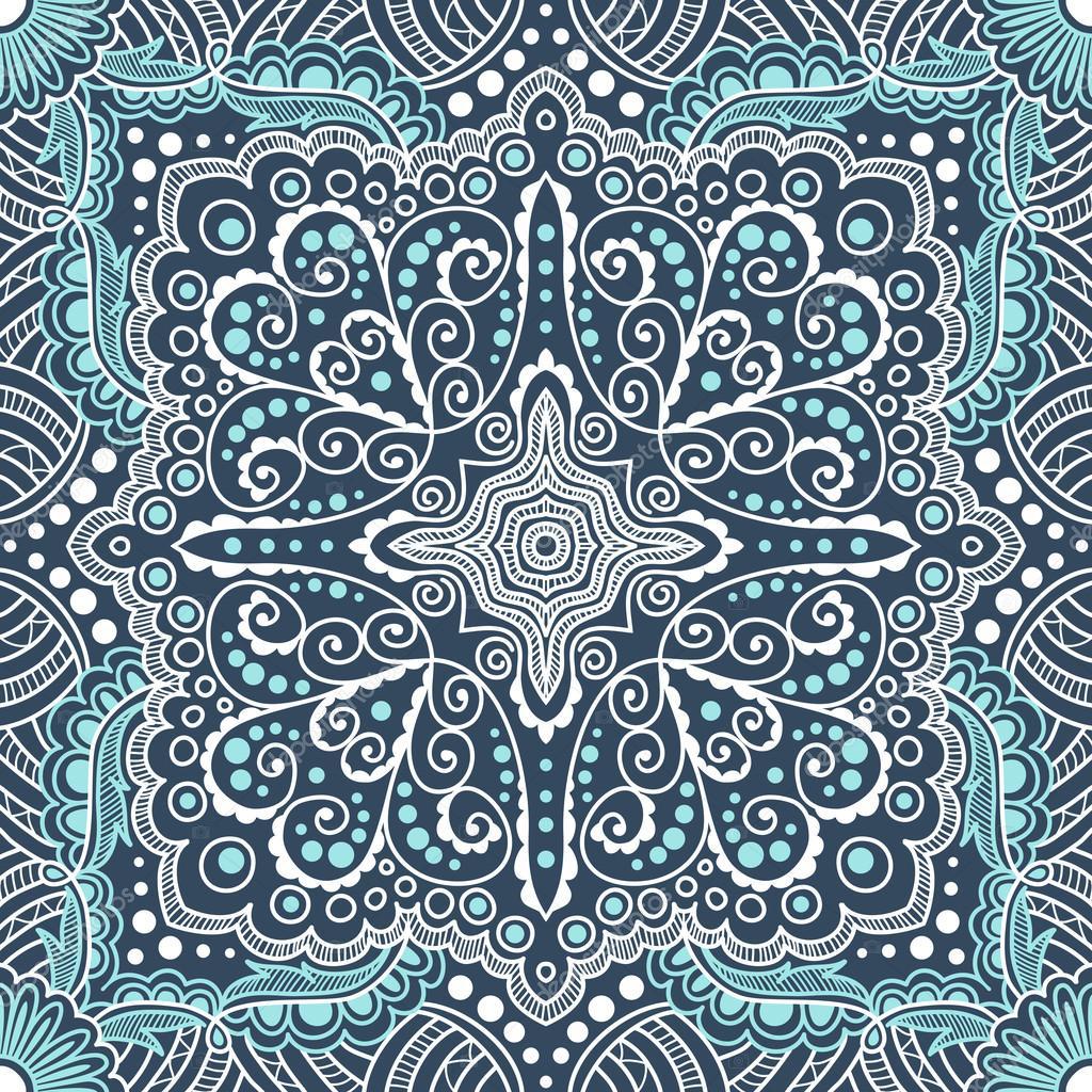 nahtlose blaue Muster Vektor Spiralen, Strudel, Ketten — Stockvektor ...