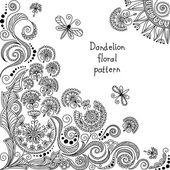 květinový vzor vektoru černé a bílé