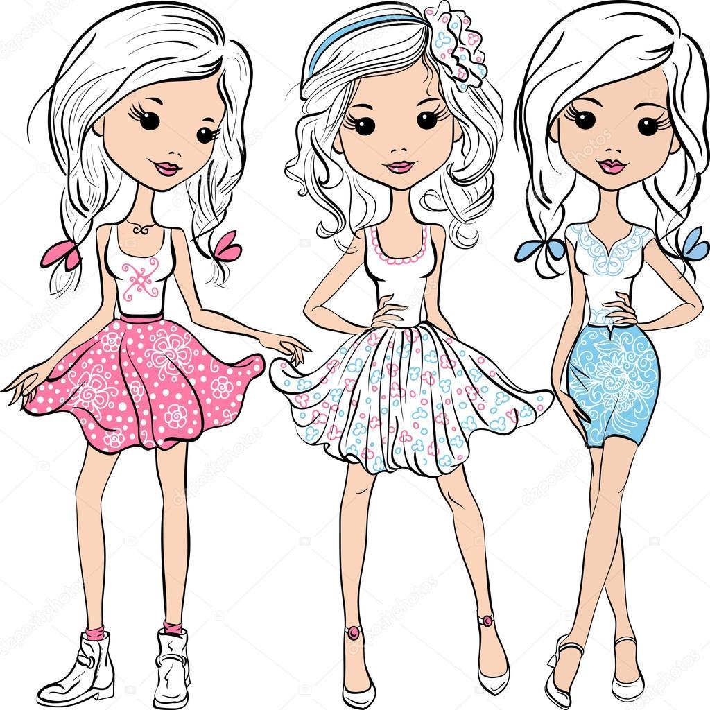 Vector set fashion cute happy girls