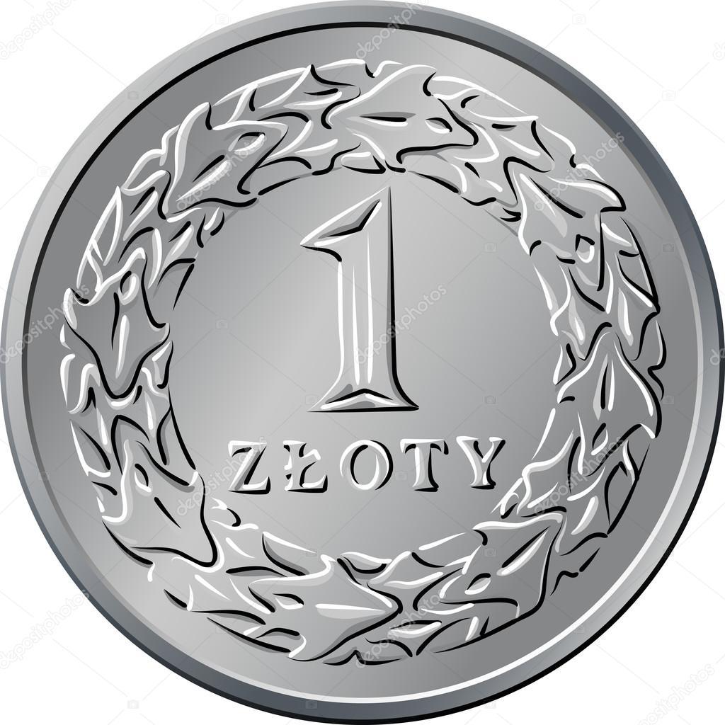 Umgekehrte Polnische Geld Eine Zloty Münze Stockvektor Olgacov