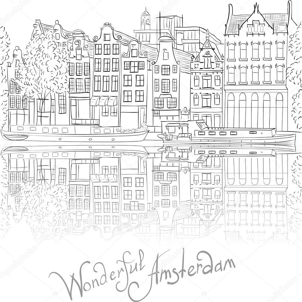 vector uitzicht op de stad amsterdamse gracht