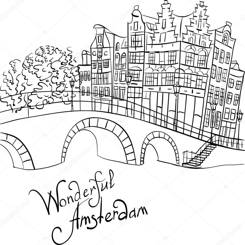 vector uitzicht op de stad amsterdamse gracht en