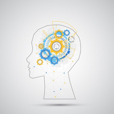 Creative brain concept with human silhouette