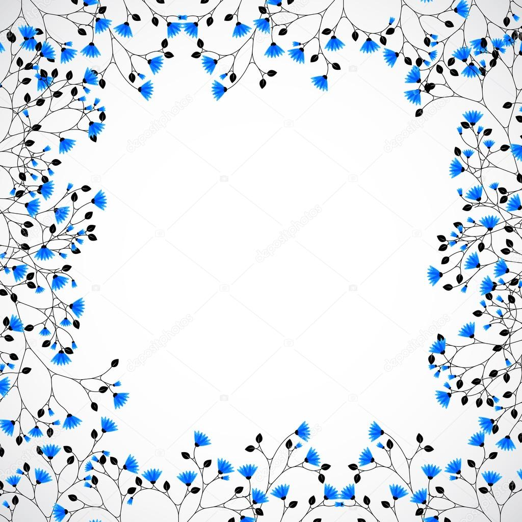 Abstract Nature Background Tree With Blue Flowers Stock Vector