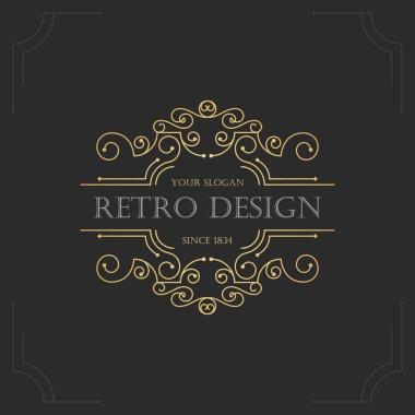 Art deco vintage design of retro flourishes frames.