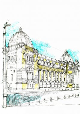 imposing public hall drawn in charcoal/ gothic construction