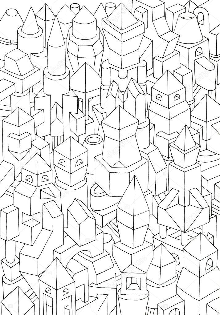 Dibujo De Ciudad Con Figuras Geometricas Dibujo De Formas